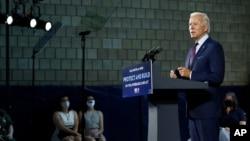 លោក Joe Biden បេក្ខជនប្រធានាធិបតីខាងគណបក្សប្រជាធិបតេយ្យ ថ្លែងសុន្ទរកថា ក្នុងអំឡុងពេលនៃការជួបជុំអ្នកគាំទ្ររបស់លោកមួយ នៅក្រុង Lancaster រដ្ឋ Pennsylvania កាលពីថ្ងៃទី ២៥ ខែមិថុនា ឆ្នាំ២០២០។