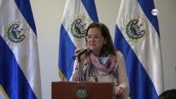 Rueda de prensa de la canciller de El Salvador Alexandra Hill Tinoco