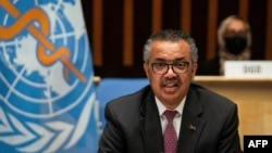 A handout photograph taken and released by the World Health Organization on May 24, 2021, shows Director-General Tedros Adhanom Ghebreyesus delivering a speech during the World Health Assembly. (AFP photo / World Health Organization / Christopher Black)