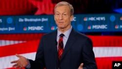 L'investisseur Tom Steyer, candidat à la présidence, s'exprime lors d'un débat lors des primaires du parti démocrate à Atlanta, Géorgie, le 20 novembre 2019. (AP)