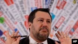 Opposition populist leader Matteo Salvini gestures during press conference at the Foreign Press association, in Rome, Feb. 13, 2020.