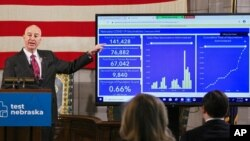 FILE - In this Jan. 11, 2021 photo, Nebraska Gov. Pete Ricketts points to vaccination statistics during a news conference in Lincoln, Neb. Several states scaled back their reporting on COVID-19 in July 2021, just as cases across the country tripled.