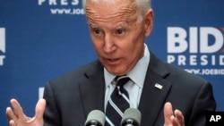 Capres AS dari partai Demokrat, mantan Wapres AS Joe Biden di CUNY, New York, 11 Juli 2019. (AP Photo/Bebeto Matthews)