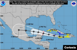 Posición y trayectoria de la tormenta tropical Grace el martes 17 de agosto de 2021 a las 5:00 am (hora del Este de EE. UU). Gráfico del Centro Nacional de Huracanes de EE. UU.