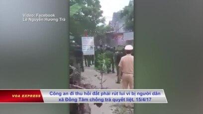 Cảnh sát và người dân xã Đồng Tâm, huyện Mỹ Đức, Hà Nội, ngày 15/4/2017. (Ảnh chụp từ clip trên Facebook)