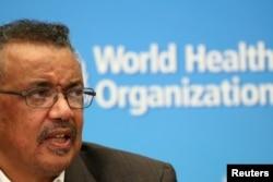 FILE - Director-General of the World Health Organization Tedros Adhanom Ghebreyesus speaks during a news conference in Geneva, Switzerland, Jan. 30, 2020.