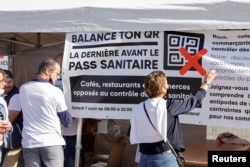 Bar and restaurant owners protest against France's coronavirus disease (COVID-19) safety restrictions in Cambrai, France, Aug. 7, 2021.