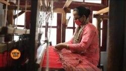 بھارت: روایتی کرگھے پر بنی اونی ساڑھیاں