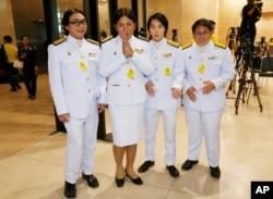 Member of parliament from Future Forward Party openly LGBT from left to right Tunyawaj Kamolwongwat, Tanwarin Sukkhapisit, Nateepat Kulsetthasith, Kawinnath Takey, arrive parliament in Bangkok, Thailand, May 24, 2019.