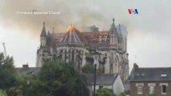 Incendio envuelve basílica en Francia