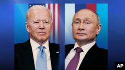 Joe Biden, as US President, and Vladimir Putin, as Russia President (l-r), during a meeting at Villa la Grange', Geneva, Switzerland, on flag texture, partial graphic