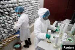 Personil medis dalam alat pelindung mempersiapkan obat untuk pasien yang terinfeksi virus corona, di apotek Rumah Sakit Tongji Wuhan, di Wuhan, China, 2 Maret 2020. (Foto: dok)