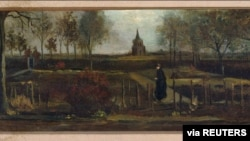 "Painting ""Lentetuin"" or ""Spring Garden"" by Vincent van Gogh is seen in this handout picture released by the Singer Laren Museum, Amsterdam, Netherlands on March 30, 2020. Singer Laren Museum/ Handout via REUTERS. ATTENTION EDITORS - THIS IMAGE WAS…"