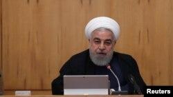 លោកប្រធានាធិបតីអ៊ីរ៉ង់ Hassan Rouhani ថ្លែងនៅក្នុងកិច្ចប្រជុំនៅក្នុងក្រុងតេហេរ៉ង់ ប្រទេសអ៊ីរ៉ង់ កាលពីថ្ងៃទី១៨ ខែកញ្ញា ឆ្នាំ២០១៩។