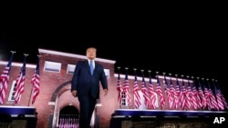 President Donald Trump walks to the stage after Vice President Mike Pence delivered a speech on the third day of the Republican National Convention at Fort McHenry National Monument and Historic Shrine in Baltimore, Aug. 26, 2020.