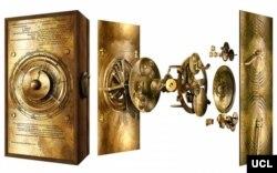 Aspecto original del mecanismo de Anticitera, recreado por científicos del University College London. Foto: UCL.
