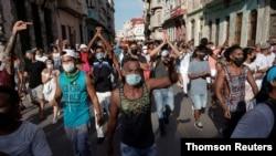 12일 쿠바 아바나에서 반정부 시위가 열렸다.