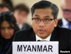 资料照片:缅甸驻联合国大使觉莫吞在日内瓦联合国人权理事会发言。(2019年3月11日)