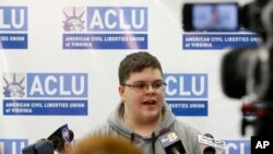 FILE - Gloucester County High School senior Gavin Grimm, a transgender student, speaks during a news conference in Richmond, Virginia, March 6, 2017.