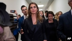 Former White House communications director Hope Hicks departs after a closed-door interview with the House Judiciary Committee on Capitol Hill in Washington, June 19, 2019.