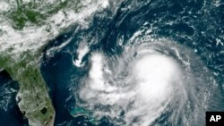 Una imagen de satélite del Huracán Ida, tomada el 27 de agosto de 2021.