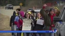 راهپیمایی طولانی دانش آموزان برای رساندن اعتراض به گوش رئیس مجلس نمایندگان آمریکا مقابل خانهاش