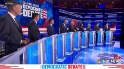 英语视频:民主党参选人第二场辩论中继续批评特朗普并相互攻击