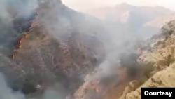تصویری از آتشسوزی در کوه نارک در استان کهگیلویه و بویراحمد