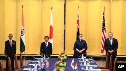 미국과 일본, 인도, 호주 외무장관이 지난 10월 일본 도쿄에서 4개국 '쿼드' 회의를 열었다. 왼쪽부터 수브라마냠 자이샨카르 인도 외무장관과 모테기 토시미츠 일본 외무상, 마리스 페인 호주 외무장관, 마이크 폼페오 미국 국무장관.