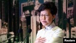 Shugabar yankin Hong Kong Carrie Lam, yayin wani taron manema labarai a yau Asabar 15 ga watan Yuni 2019