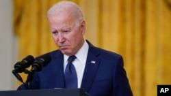 Tổng thống Joe Biden, tại Tòa Bạch Ốc, ngày 26/8/2021, nhận xét về hai vụ đánh bom tại phi trường Kabul.