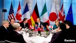Presiden AS Barack Obama dan para pemimpin G-7 dalam pertemuan di Den Haag, Belanda Senin (24/3).