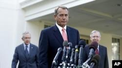 From left: Senate Majority Leader Harry Reid, House Speaker John Boehner and Senate Minority Leader Mitch McConnell outside the White House, Nov. 16, 2012.