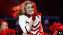 Madonna performs at the Joe Louis Arena in Detroit.