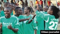 Caps United Football Club players celebrate after beating Highlanders recently (Courtesy Photo)