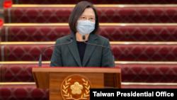 台湾总统蔡英文在国安高层会议后发表讲话。(2021年2月9日)(图片来源:台湾总统府网站)
