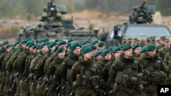 FILE - Lithuanian soldiers are seen during exercises in Pabrade, some 60 km (38 miles) north of the capital Vilnius, Lithuania, Nov. 13, 2014.