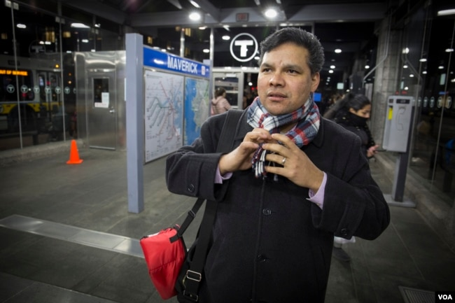 """José Palma, a TPS recipient from El Salvador, coordinates the state's TPS Committee. He says there are a lot of welcoming messages in Massachusetts, but feels the state """"falls short on action"""" for its undocumented population. (R. Taylor/VOA)"""