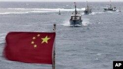 20일 남중국해 하난 섬 인근의 중국 어선. (자료사진)