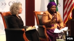 African Union Commission chairperson, Nkosazana Zuma-Dlamini at the Center for Strategic and International Studies (CSIS) on Monday at an event being moderated by Janet Fleischam, senior associate, CSIS global health policy Center. (Photo: Ndimyake Mwakalyelye)