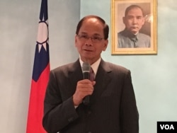 台湾祝贺美国总统就职代表团团长游锡堃(2017年1月18日,美国之音钟辰芳拍摄)