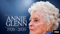 ANNIE GLENN headshot, widow of former astronaut and Senator John Glenn, on texture with 1920-2020 lettering, finished graphic