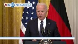 VOA60 America - U.S. President Biden renewed his concerns to German Chancellor Merkel about Russian pipeline