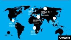 Mapa Índice de Corrupção no mundo