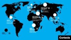 Mapa mundial con los promedios regionales de percepción de la corrupción.