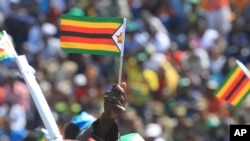 A supporter of Zimbabwean President Emmerson Mnangagwa waves a national flag, during a Heroes' Day event to commemorate the lives of those who died in the southern African country's 1970s war against white minority rule, in Harare, Aug. 13, 2018.