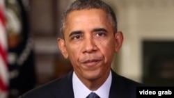 美国总统奥巴马进行每周讲话