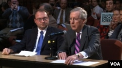 Brian Patton, president of the James River Coal Company, testifies alongside U.S. Sen. Mitch McConnell. Both represent coal interests in Kentucky. (A. Greenbaum/VOA)
