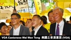 和平佔中三名發起人陳健民(左起)、戴耀廷、朱耀明 (攝影﹕美國之音湯惠芸)