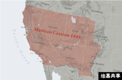 The territories ceded by Mexico to the U.S. in 1848 in the Treaty of Guadalupe Hidalgo.